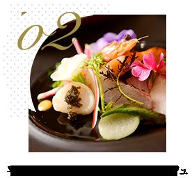 平目とサーモンの地元野菜マリアージュ